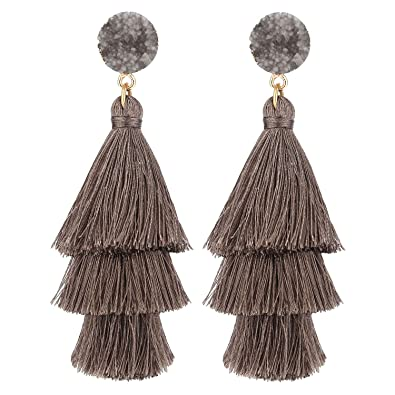 8988c788848cc9 LEGITTA Grey Tassel Earrings with Druzy Stud Thread Layered Tiered Fringe  Linear Drop Dangle Fashion Bohemian