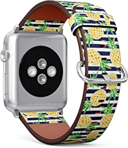 Compatible with Apple Watch 42mm & 44mm (Series 5, 4, 3, 2, 1) Leather Watch Wrist Band Strap Bracelet with Stainless Steel Clasp and Adapters (Cute Cartoon Pineapple)