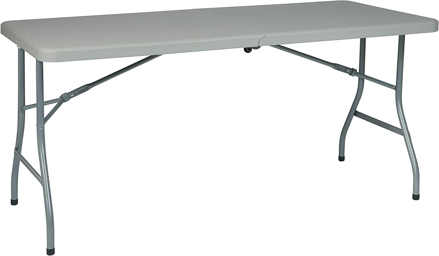 Office Star Resin Multipurpose Rectangle Table, 5-Feet Long, Center Folding with Wheels