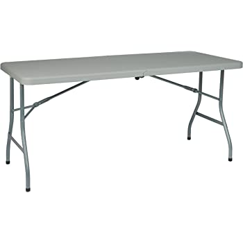 Amazing Office Star Resin Multipurpose Rectangle Table, 5 Feet Long, Center Folding  With Wheels