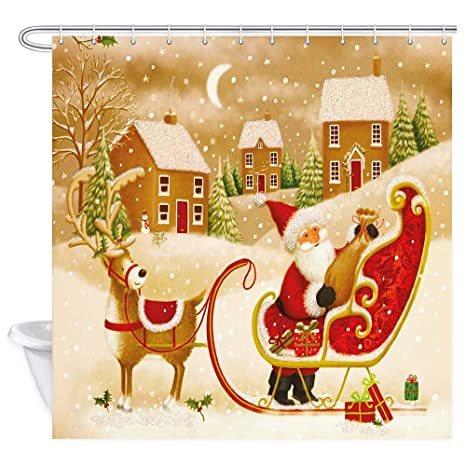 Christmas Shower Curtains Amazon.Christmas Shower Curtain Xmas Santa Claus Reindeer Sleigh At Fantasy Winter Forest New Year Holiday Decorative Shower Curtain For Bathroom Bathroom