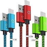 Gritin Cavo USB C [3 Pezzi: 1m, 1.5m, 2m] Nylon Intrecciato Cavo USB Tipo C per Samsung Galaxy S9/S8+, Note 8, Nintendo Switch, Sony Xperia XZ, HTC 10/U11, OnePlus 5T, Huawei P9 e pi (Colore)