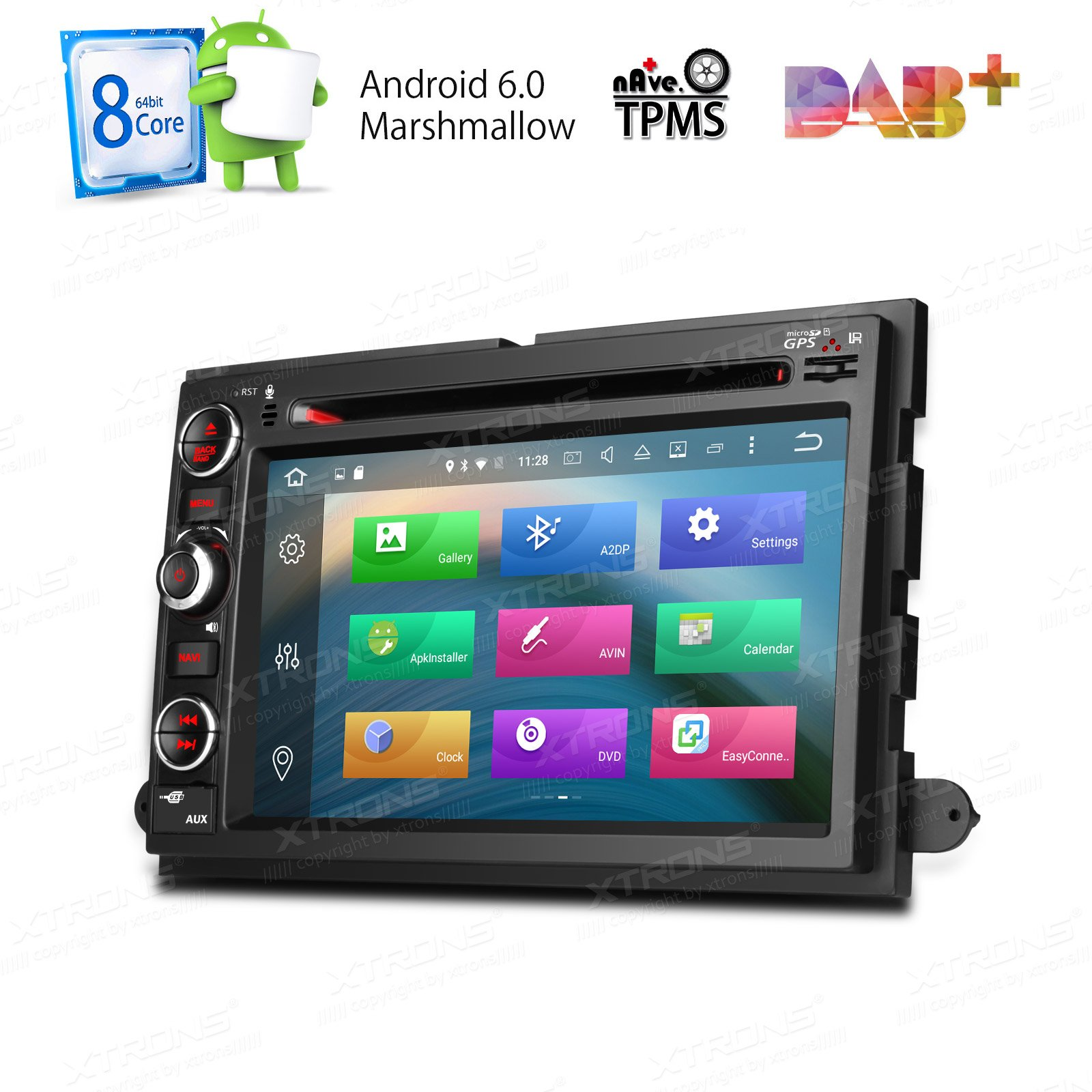 XTRONS 7 Inch Android 6.0 Octa-Core 2G RAM 32GB ROM Capacitive Touch Screen Car Stereo Radio DVD Player GPS CANbus Screen Mirroring Function OBD2 Tire Pressure Monitoring for FORD F-105 Mustang