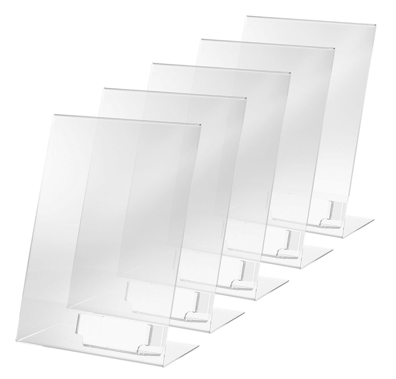 f/ür A4 quer weitere Gr/ö/ßen SIGEL TA211 Tischaufsteller schr/äg glasklar Acryl 10 St/ück
