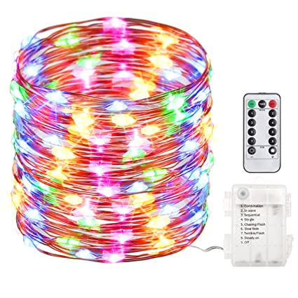 gdealer 100 led 33ft fairy lights fairy string lights battery operated waterproof 8 modes remote control