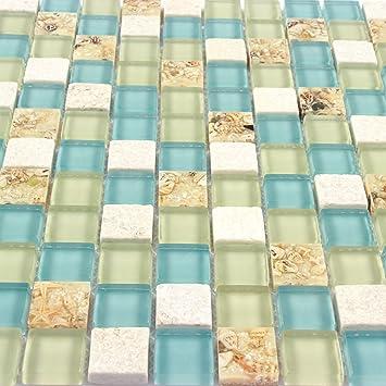 Wall Tiles White Stone Mosaic Tiles Glass Blue Conch Sea Shell ...