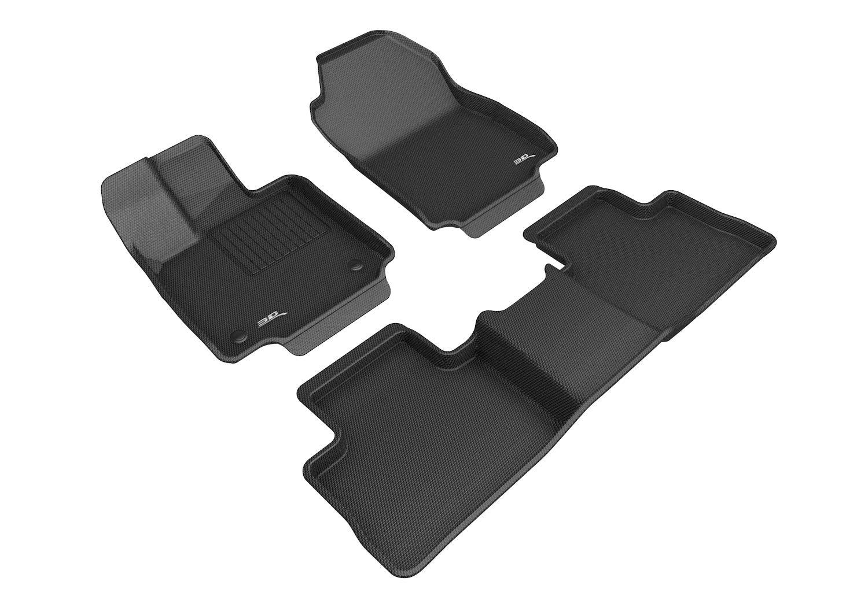 3D MAXpider L1TY25401509 Custom Fit Complete Set All-Weather Floor Mats for Select Toyota RAV4 Models-Kagu Series Black