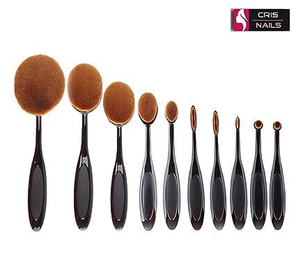 10 PC Soft Oval cepillo de dientes de los sistemas de cepillo del maquillaje Cepillos Fundación