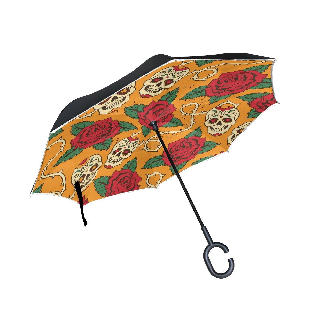 Bennigiry Envers Parapluie 10+ inversé Parapluie double couche Rose Tête de mort Parapluie coupe-vent protection UV avec poignée en forme de C