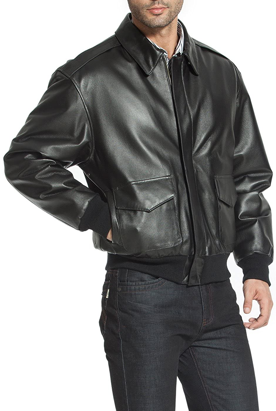 Landing Leathers Mens Air Force A-2 Leather Flight Bomber Jacket (Regular Big & Tall)