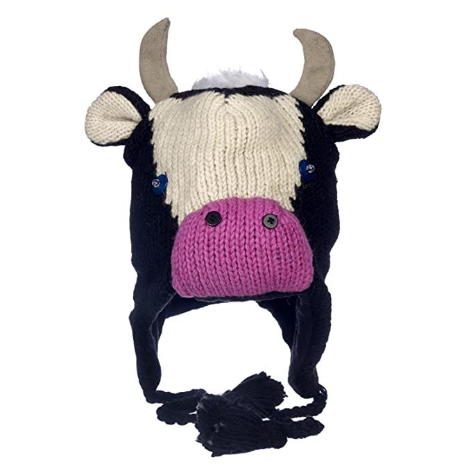 e993bbc392e Paper High Men s Fun Cow Handmade Winter Woollen Animal Hat with Fleece  Lining One Size Black