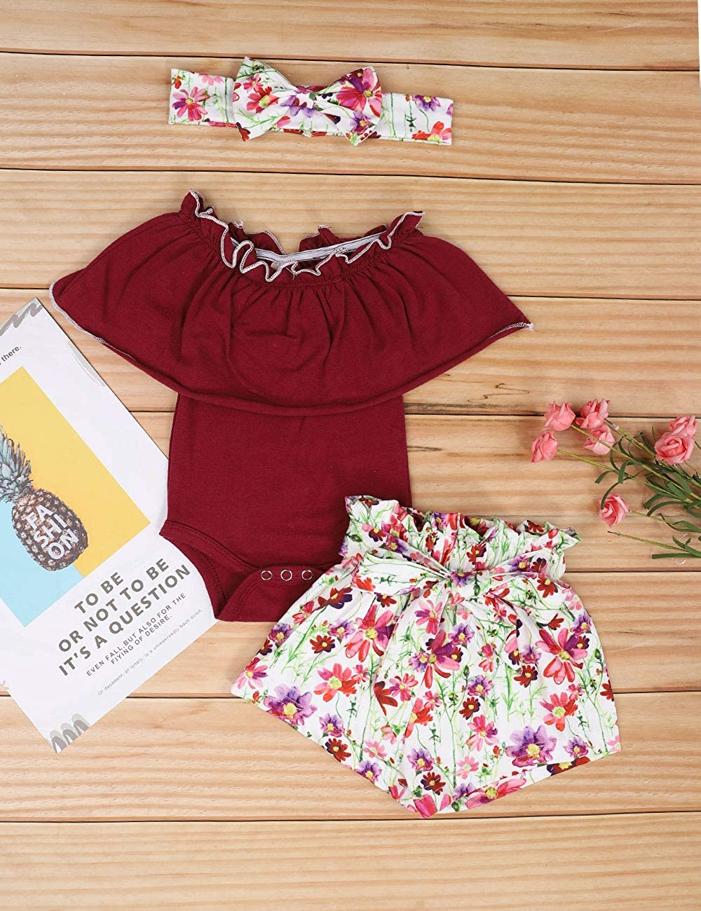 Headband Newborn Baby Girls Clothes Ruffle T-Shirt Hat Outfit Sets Floral Pants