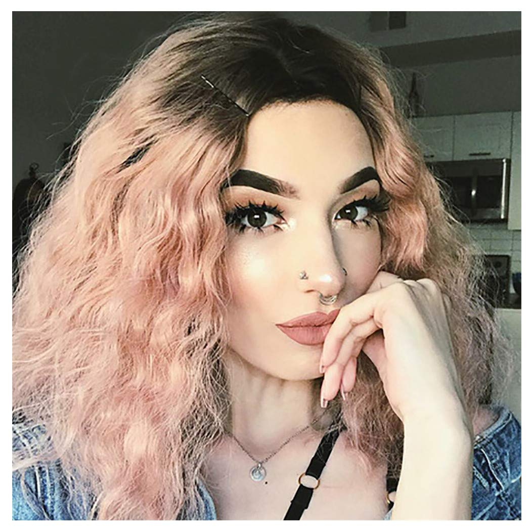 LIEJIE Lace Front Full Wig Short Wave Pink Natural Looking Women Synthetic Wigs Heat Resistant Fiber Women's Wigs for Cosplay, Party&Daily Use Costume Wig 16inch by LIEJIE