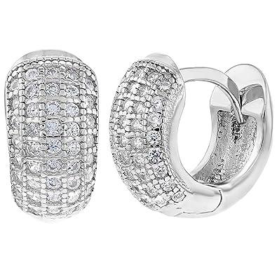 d6089b9710bc In Season Jewelry - 925 Plata de Ley Circonitas Claras Pequeños Aretes 8mm   Amazon.es  Joyería