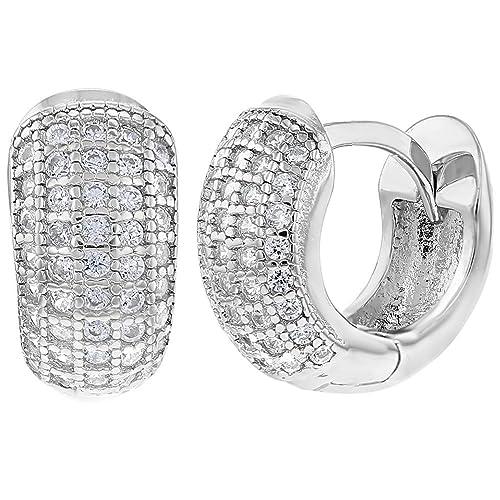 7225fe4902324 925 Sterling Silver Clear CZ Small Wide Huggie Hoop Earrings 0.31