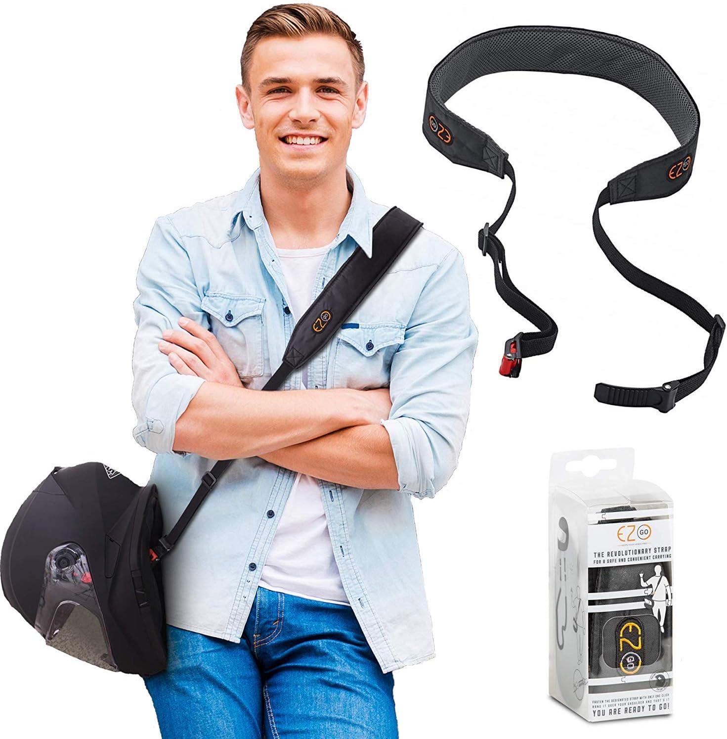 EZ GO Porta Cascos para Moto - Correa de Transporte Ajustable Manos Libres para Casco - Alternativa Ligera y Cómoda a la Bolsa para Casco - Accesorio de Moto Ideal como Regalo para Hombre o Mujer