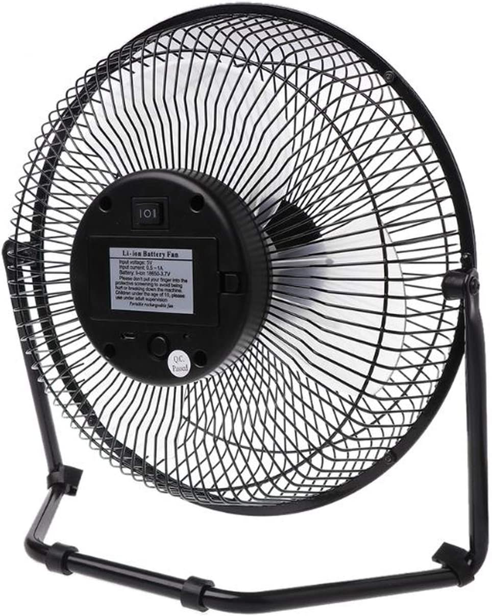 6 8 10 Large Black All Metal Electric Rotating USB Powered Battery Powered Desktop Fan,6 Inch