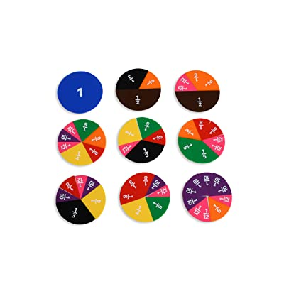 Edx Education Fraction Circles - Set of 51-9 Values and Colors - Teach Fraction Equivalents and Parts to Whole: Industrial & Scientific