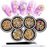 SILPECWEE 6 Boxes 3d Nail Rhinestones And Studs Gold Nail Rivets Set Nail Crystals Clear Nail Jewelry Decorations Manicure Kit With 1Pc Tweezers And Picker Pencil