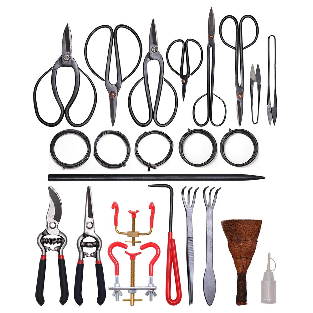 Yescom 35 PCS Bonsai Tool Carbon Steel Shear Set Kit Scissor Pliers Cutter Saw with Case