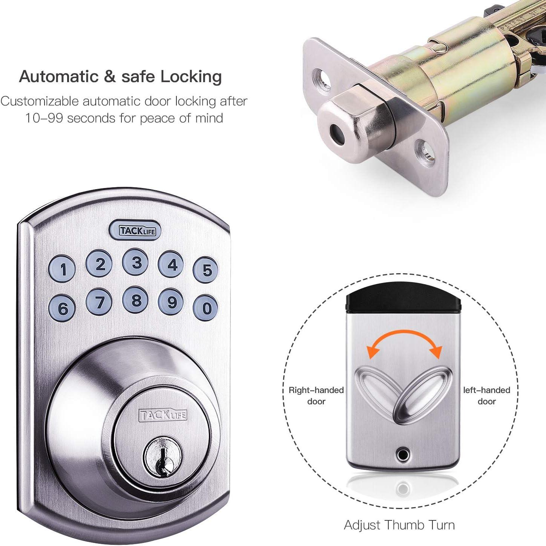 Office /& Home Satin Nickel-EKPL1A Tacklife Keypad Electronic Deadbolt Door Lock Keyless Entry Door Lock with 1-Touch Motorized Auto-Locking Easy to Install for Locker