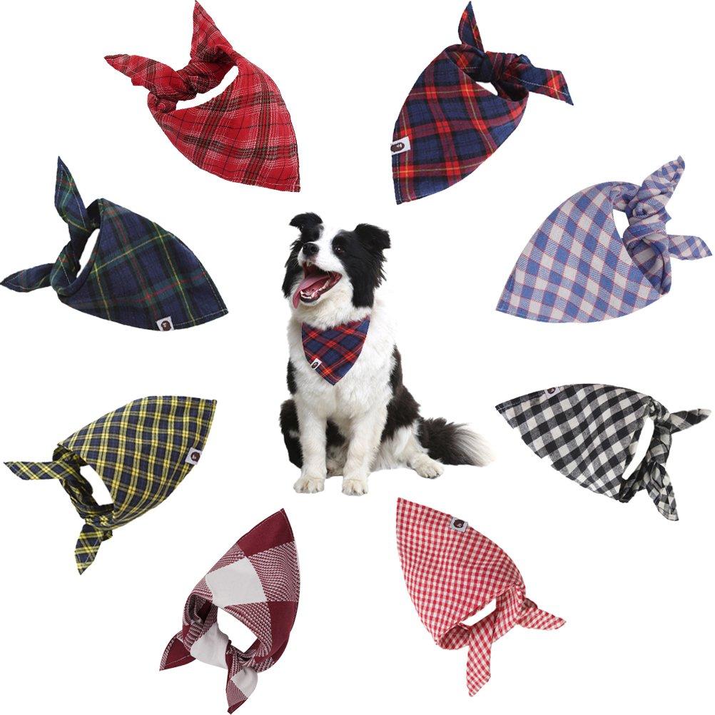 SCENEREAL Dog Bandana Classic Plaid Triangle Scarf 8pcs/pack Holiday Birthday Gift