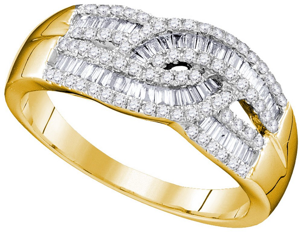10k Yellow Gold Womens Round Baguette Diamond Cocktail Band Ring 5/8 Cttw (I1 clarity; H-I color)