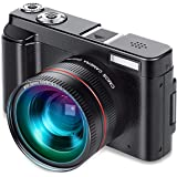 Vlogging Camera, Video Camcorder FHD1080p 24MP Digital Camera WIFI YouTube Camera Camcorder With Wide Angle Lens, 180 Degree Rotation Flip Screen, 16x Digital Zoom, 32GB Card (Two Batteries)