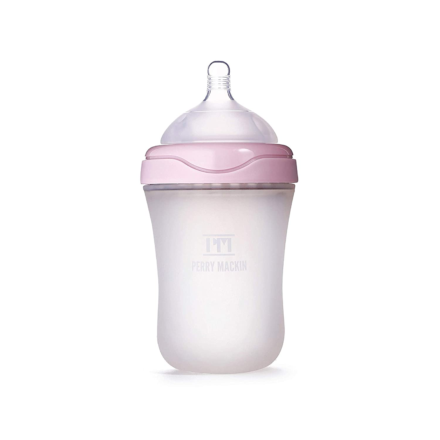 Perry Mackin Anti-Colic Silicone Baby Bottle, Pink 9 Ounces
