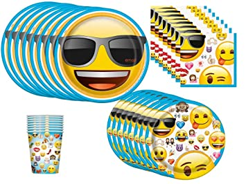 Emoji Birthday Party Supplies Bundle Pack For 8