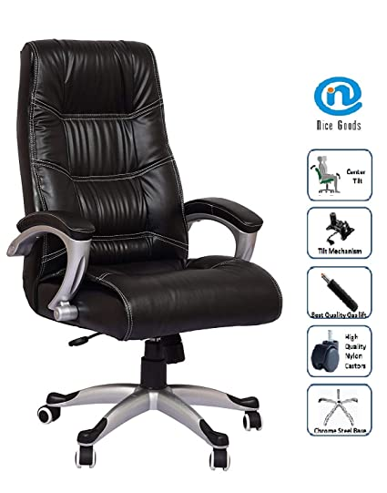 Nice Chair Goods High Back Comfortable Leatherette Executive Work From Home Office 10 C Black Amazon In Home Kitchen