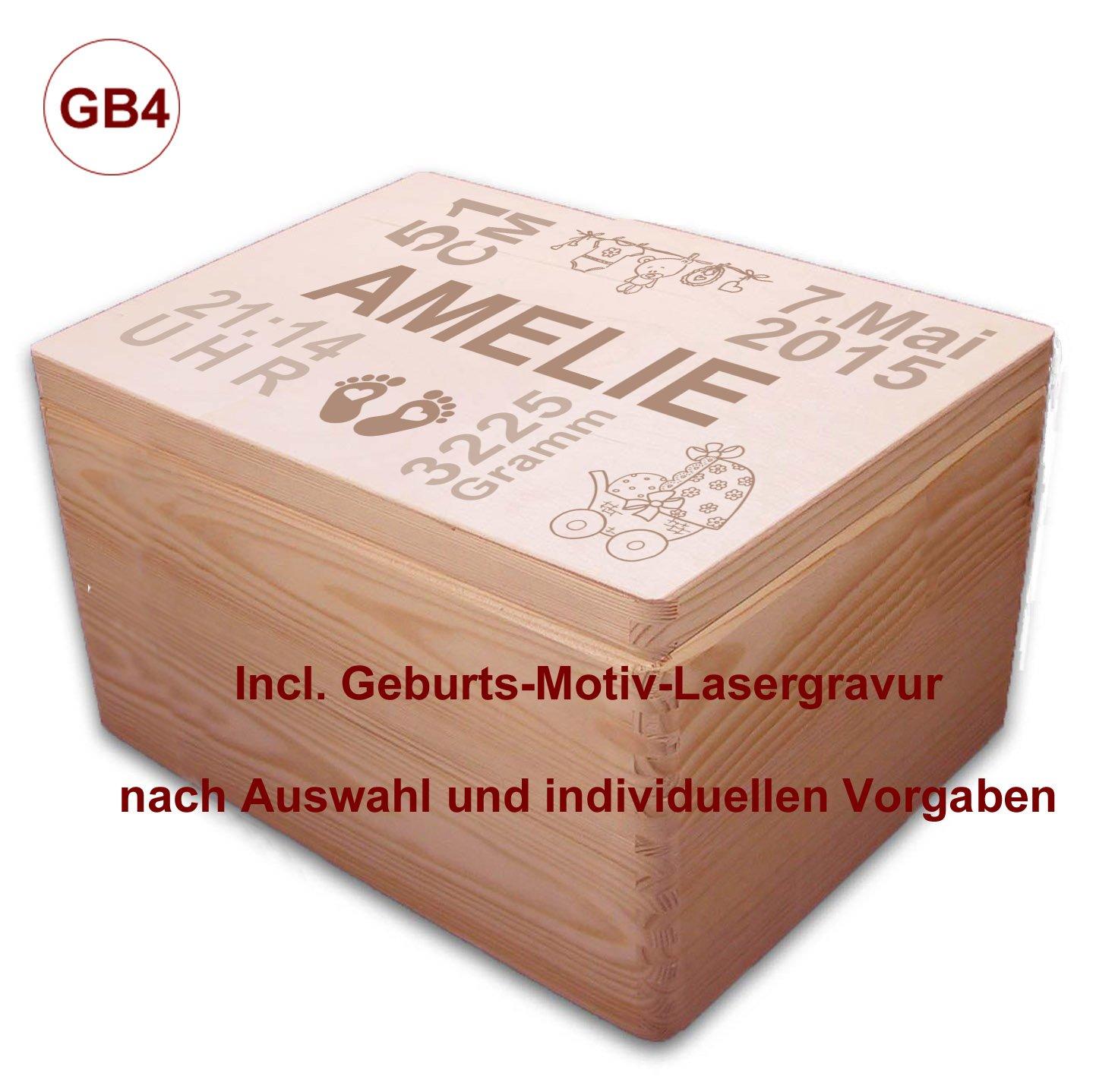 Auswahl-Lasergravur 3 MidaCreativ zur Geburt GB4 gro/ße Holz-Geschenkbox Gr Kiefer incl