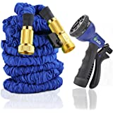 Gada 150 Foot Expandable Garden Hose, Strong Expanding Garden Hose. Solid Brass Fittings, with Abs Holder,Three Layer Latex Core, Tough Nylon Fabric, Spray Nozzle (150ft)