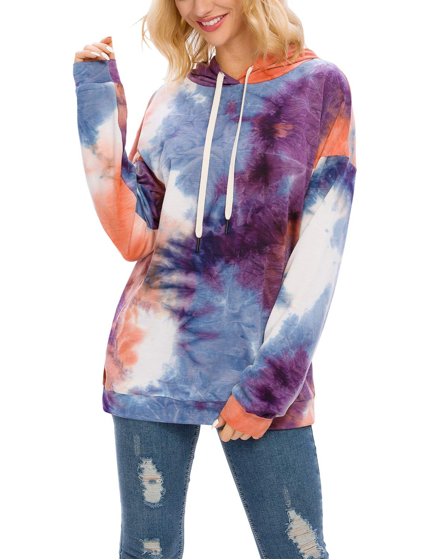 Blooming Jelly Women\'s Pullover Tie Dye Hoodie Hooded Crew Neck Sweatshirt Ombre Top(S, Hooded)