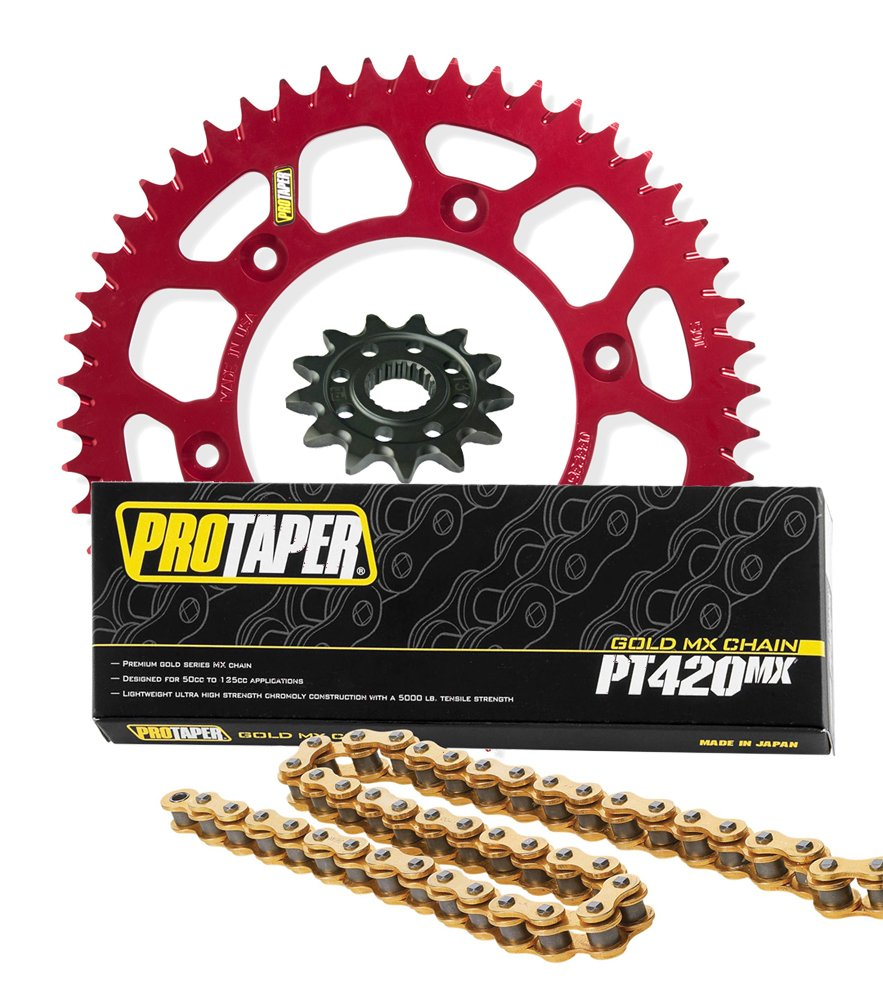 Pro Taper Front & Rear Sprockets & PT420MX Chain Kit - 15/56 RED - Honda CRF150R, CRF150RB_033370|033256|023101