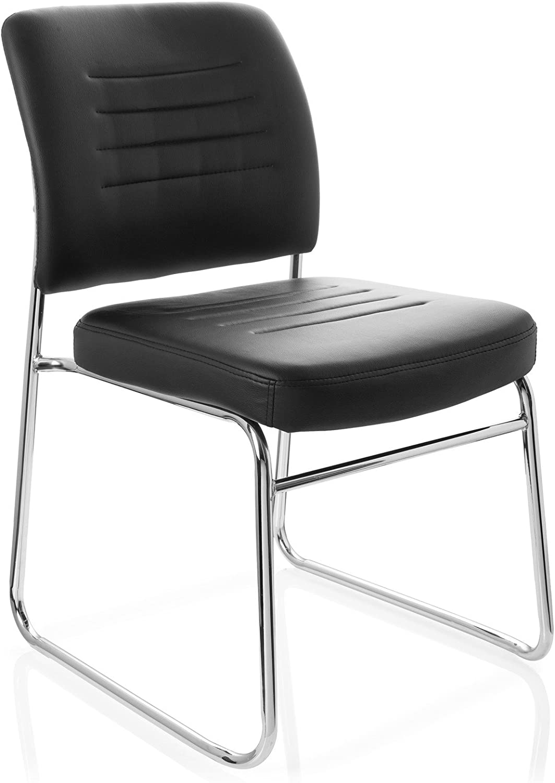 hjh OFFICE 706770 Besucherstuhl TONSO V Kunstleder Schwarz Konferenzstuhl Sessel gepolstert mit Kufen Gestell