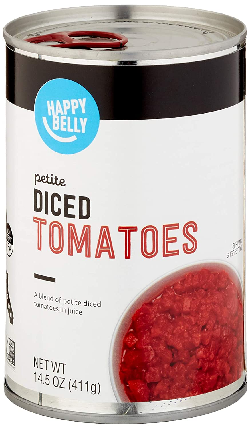 Amazon Brand - Happy Belly Petite Diced Tomatoes, 14.5 Ounce