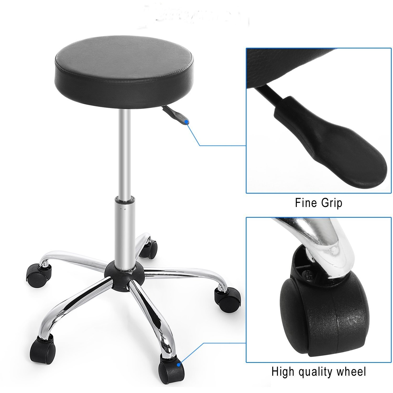 Garain Synthetic Leather Round Height Adjustable 360 Casters Rolling Swivel Wheels Bar Stool Kitchen Modern Chair Black for Massage Medical Salon Office (US Stock)