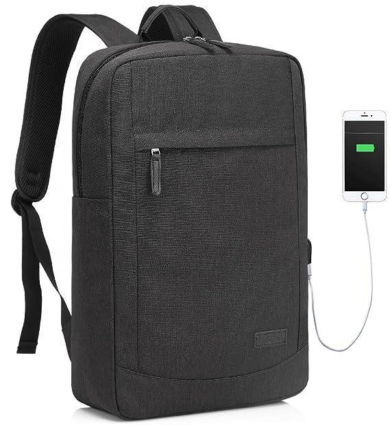 Laptop Rucksack Herren, Vaschy 17 Zoll Schlank Notebook Rucksack mit USB-Lade-Port für Hochschule Student Geschäft Rucksack m