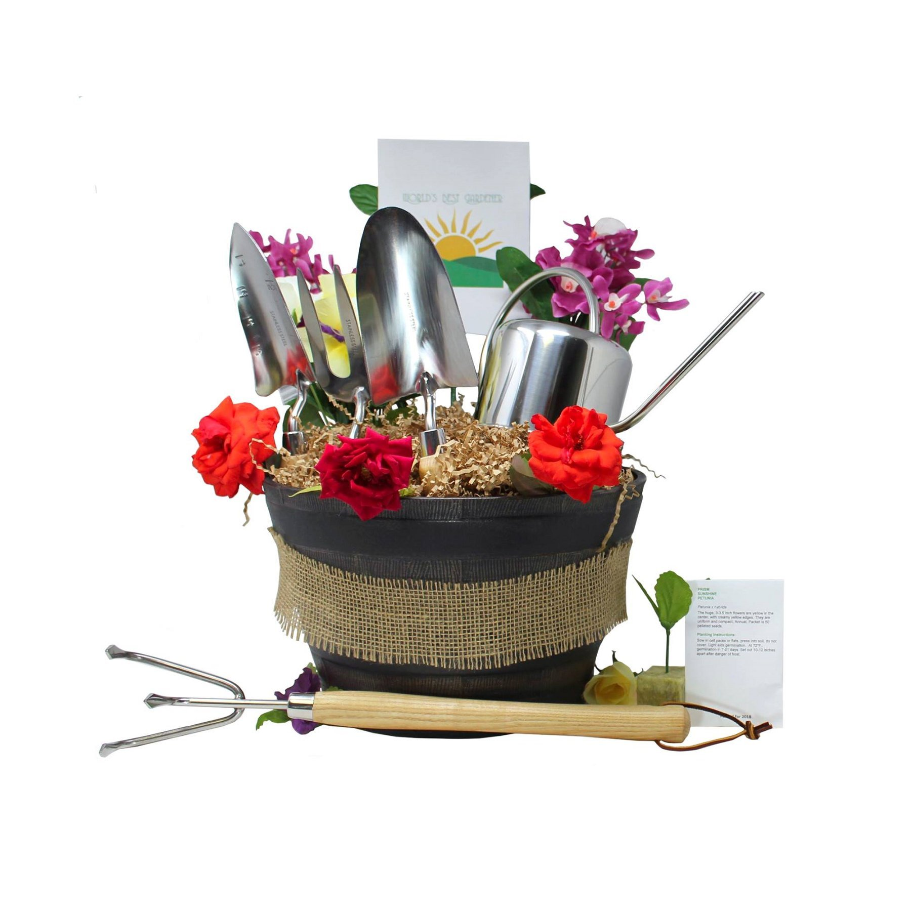 Deluxe Gardener Gift Basket Stainless Steel Tools and Decorative Planter (With Love)