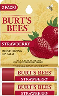 product image for Burt's Bees 100% Natural Moisturizing Lip Balm, Strawberry with Beeswax & Fruit Extracts - 2 Tubes
