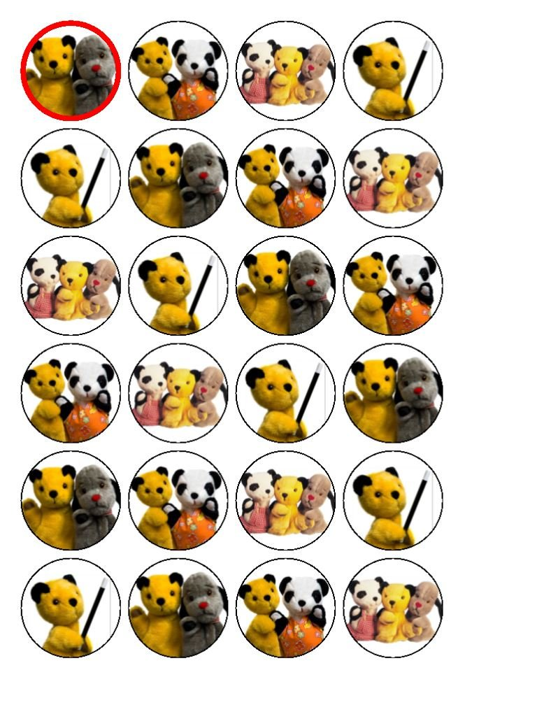 24 x Sooty Cupcake Cake Toppers coyote