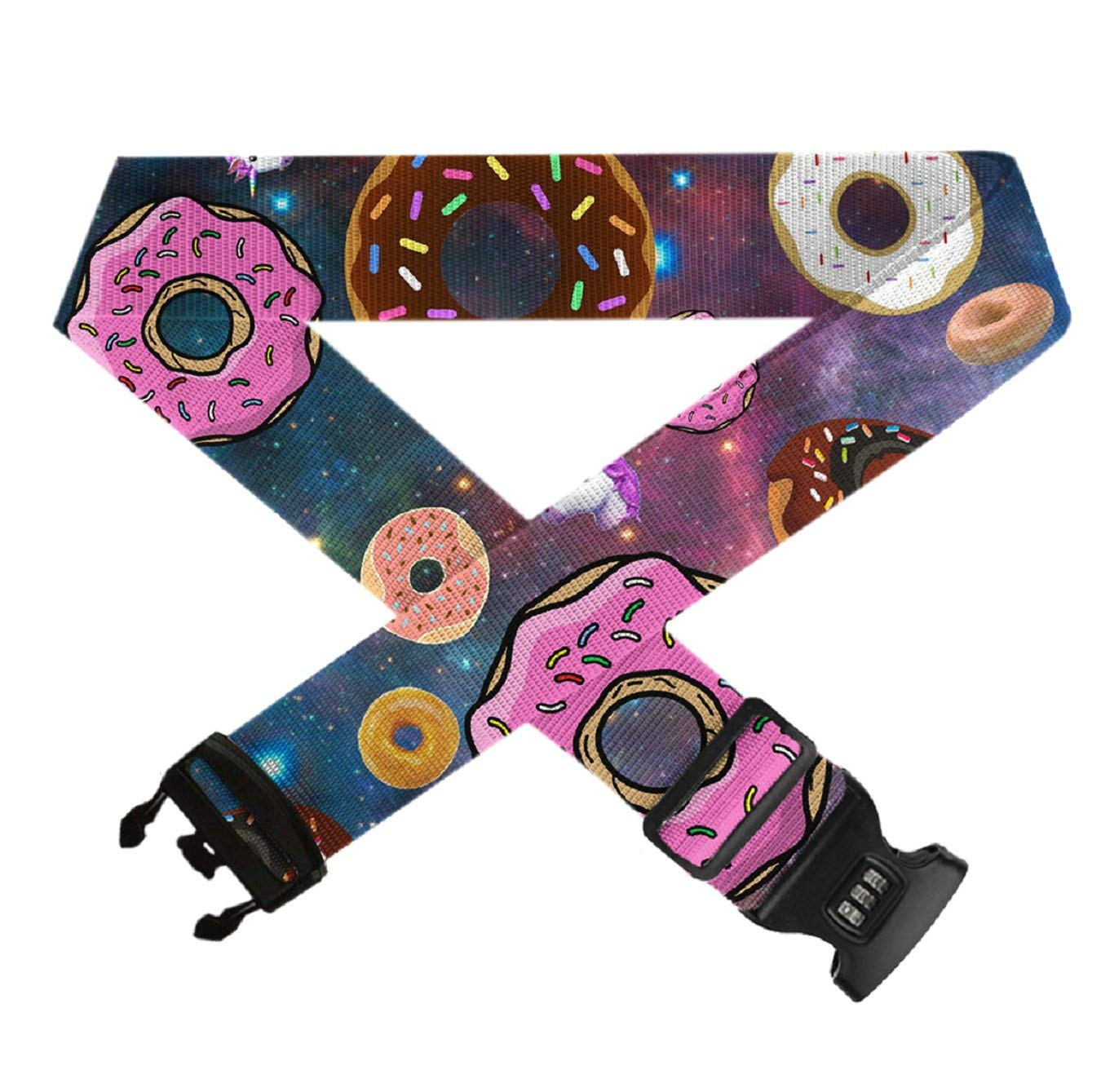 Straps Accessories for Travel//Trip Unicorn and Donut GLORY ART 1 PC Add a Bag Luggage Strap Adjustable Suitcase Belt with TSA Approved