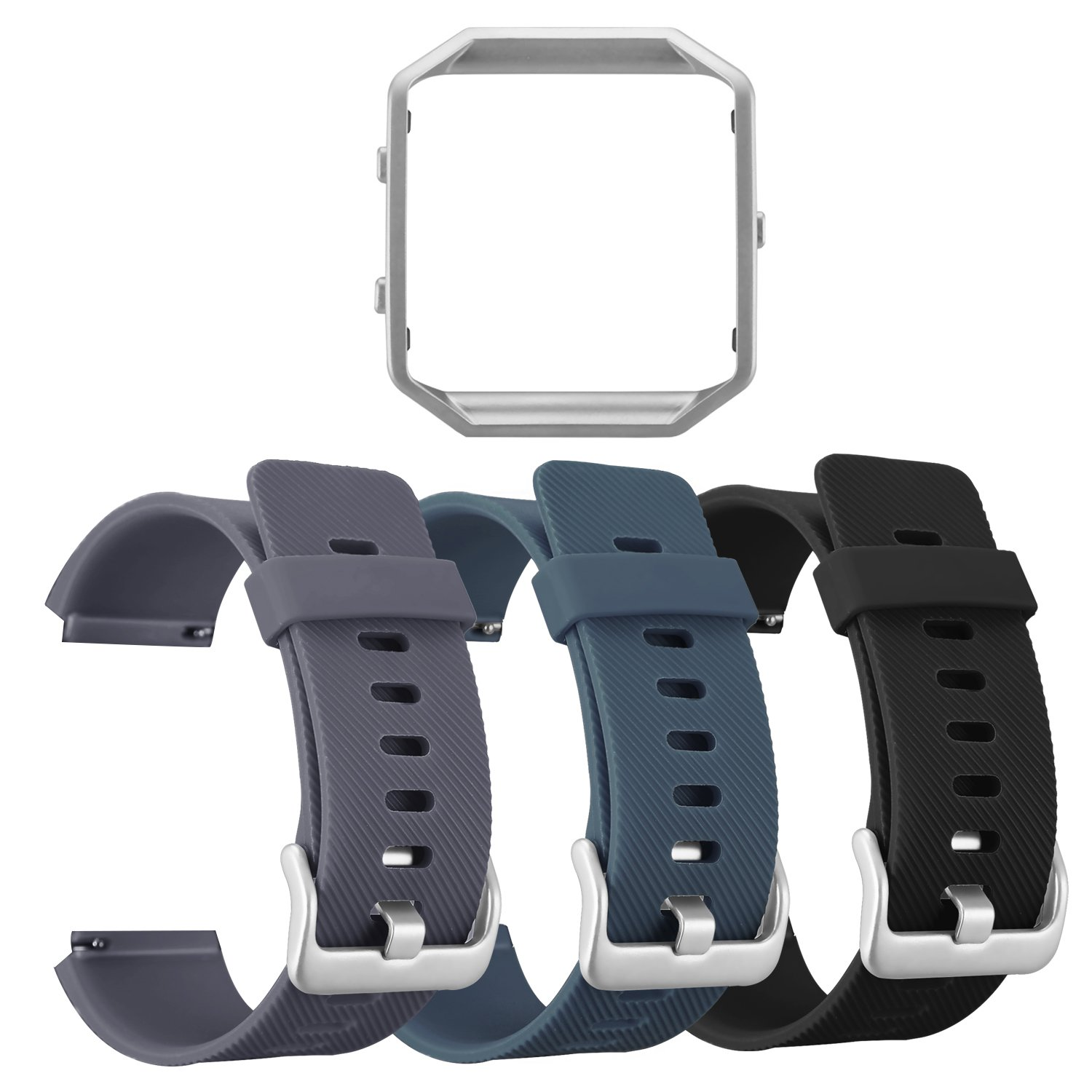 For Fitbit Blaze Bands,ESEEKGO 3 Pack Silicone Band with 1 Pcs Metal Frame for Fitbit Blaze Replacement Sport Fitness Accessory Wristband (No Tracker,Grey+Slate+Black,Silver Frame)