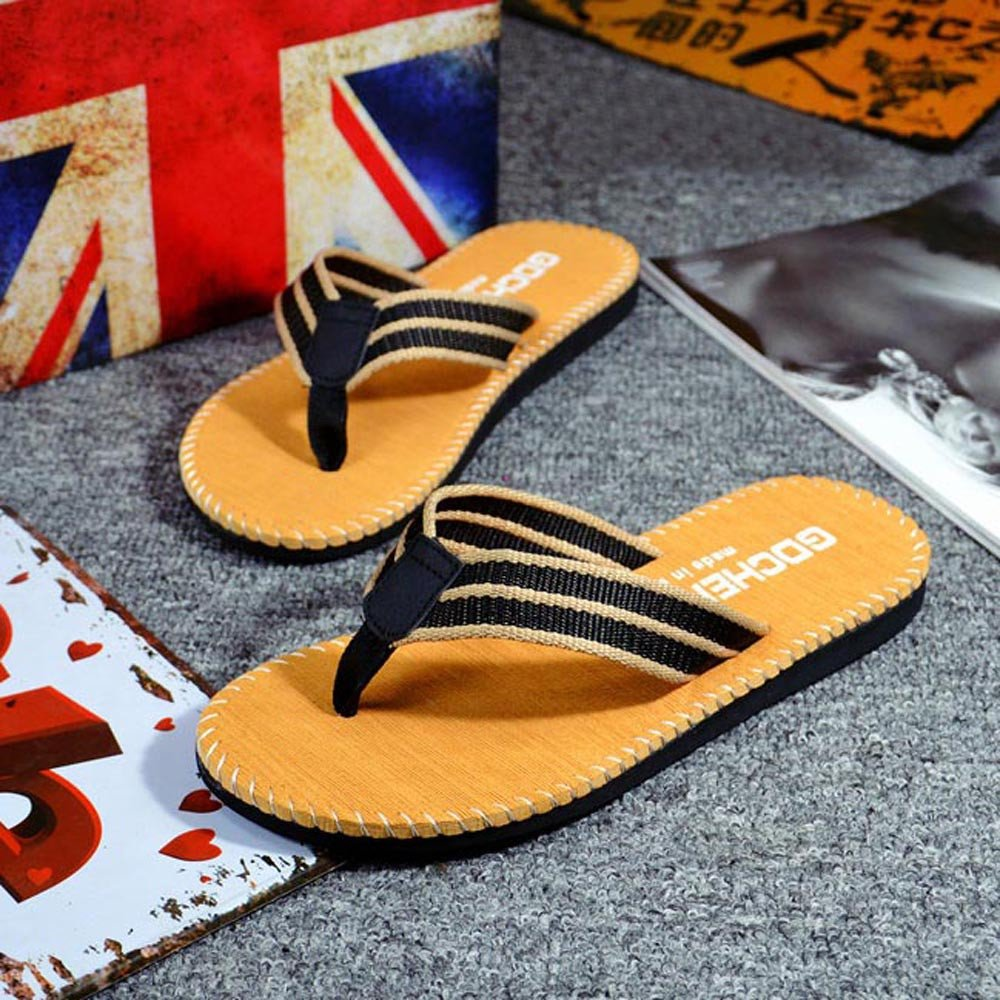Respctful✿Men Flip Flops Lightweight Casual Thong Sandals Outdoor Anti Slip Indoor Sandals Beach Slippers Khaki by Respctful_shoes (Image #5)