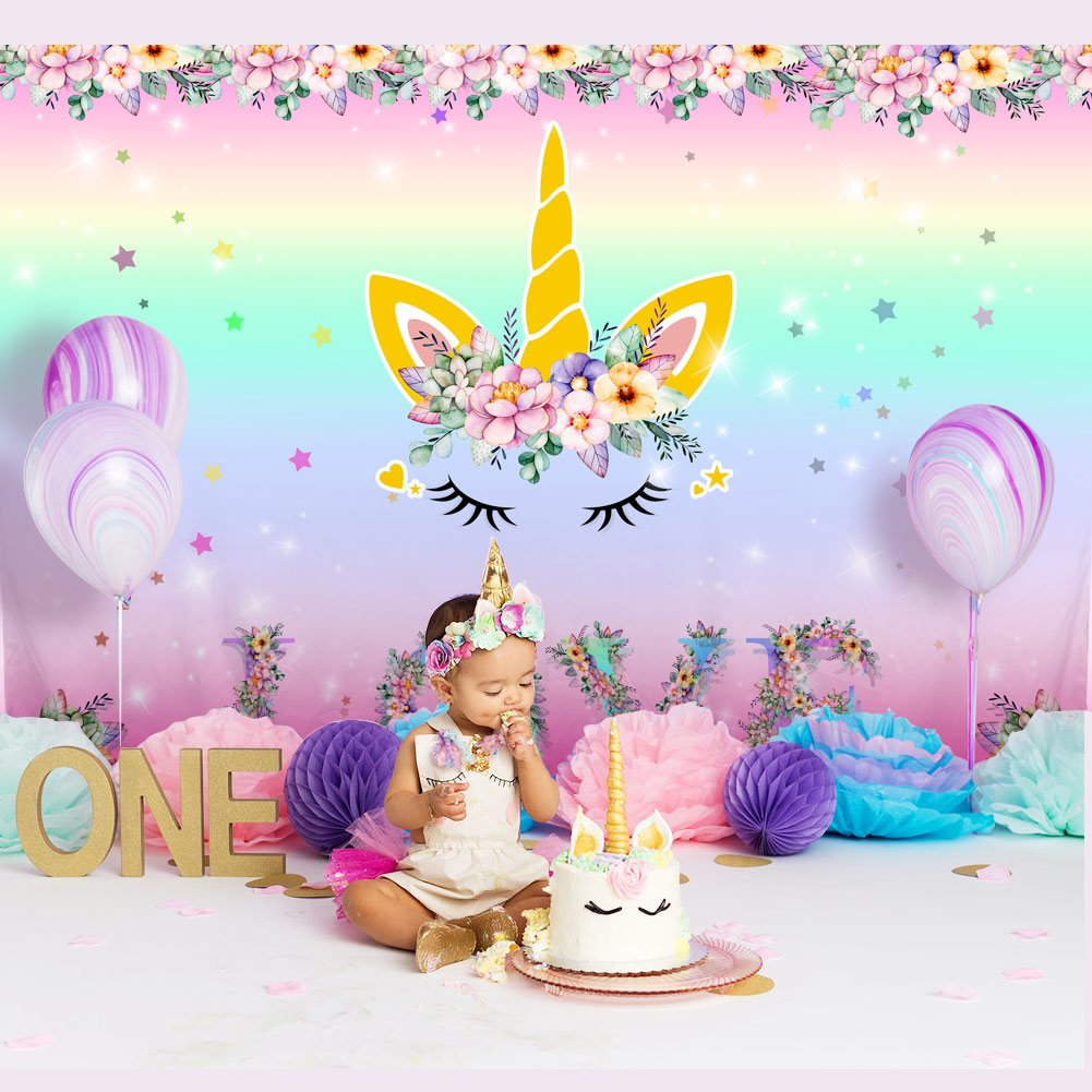 Wmbetter 7x5ft Unicorn Backdrop Birthday Photography Background for Girls, Rainbow Floral Love Backdrop for Unicorn Party Supplies Studio Props