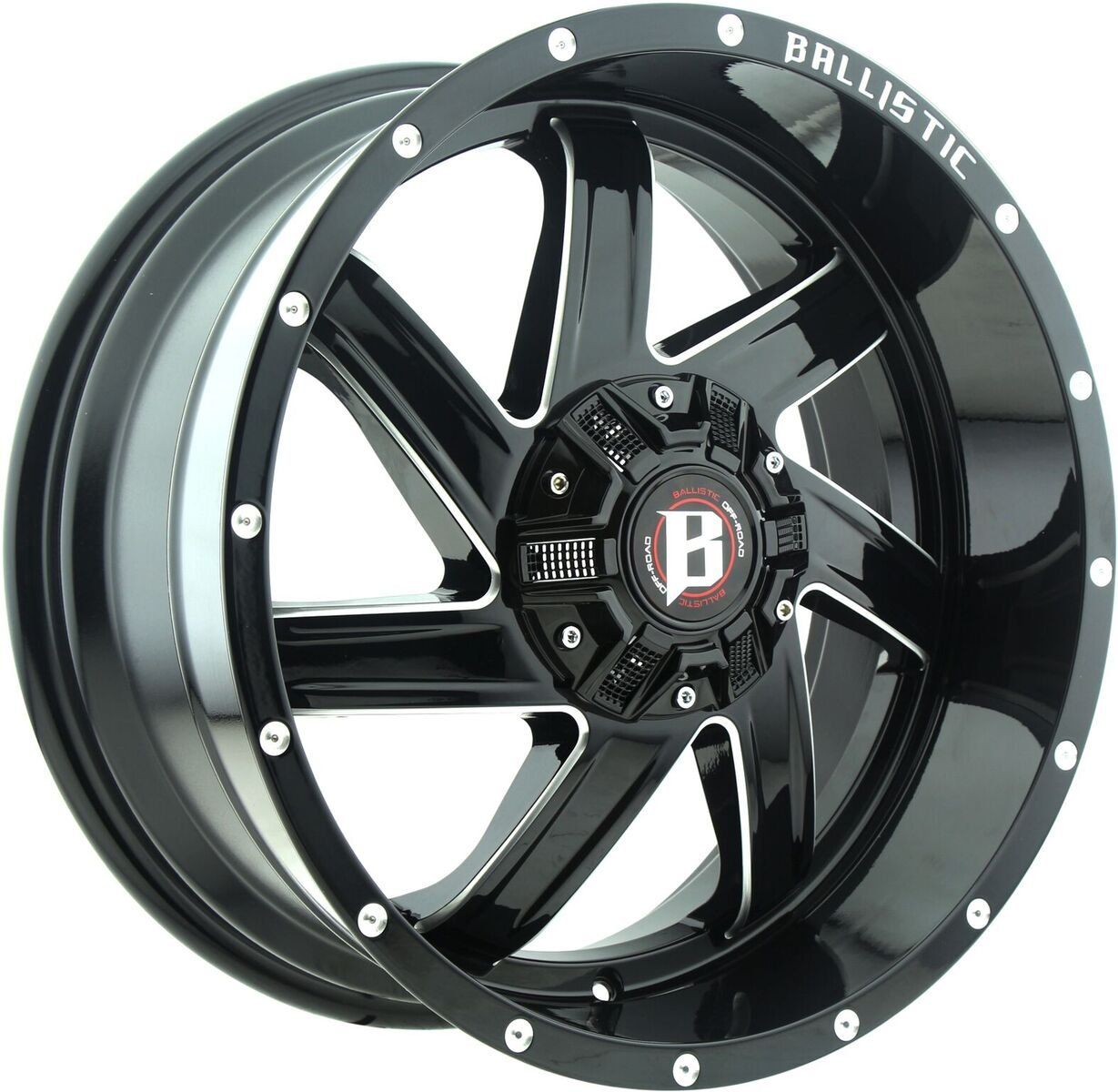 Ballistic-961-Guillotine-20×9-Black-and-Milled-Wheel-6-135-6-1397-mm-Bolt-Pattern-12-mm-Offset-1061-mm-Hub-Bore