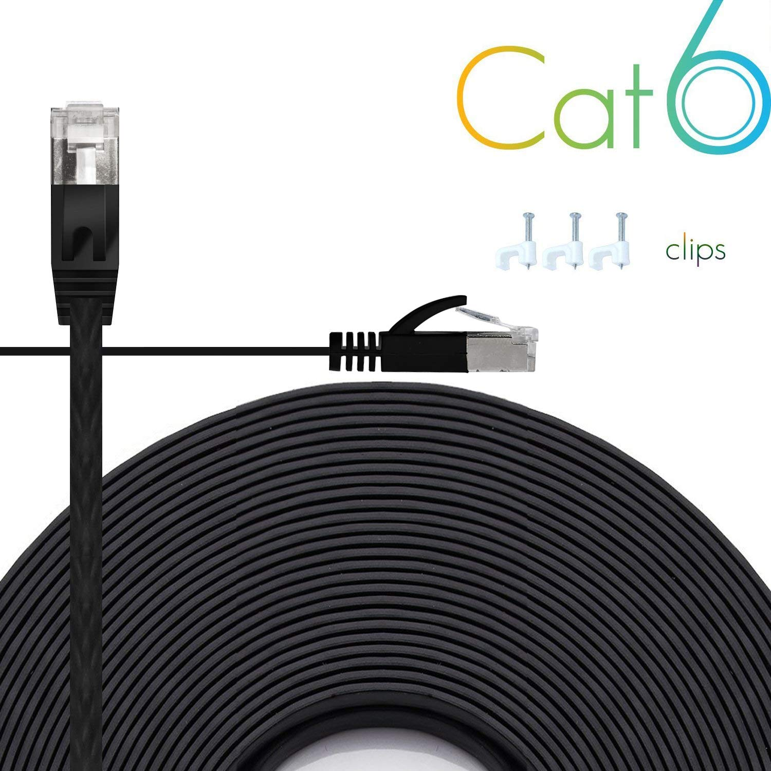 Ethernet Cable Cat6 Plus 50ft - Black Flat High Speed Internet Network Cable with Cable Clips - Computer Cable with Snagless Rj45 Connectors - 50 Feet Black