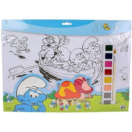 Guizmax Conjunto De Para Colorear Pitufos Pintura 8 Colores