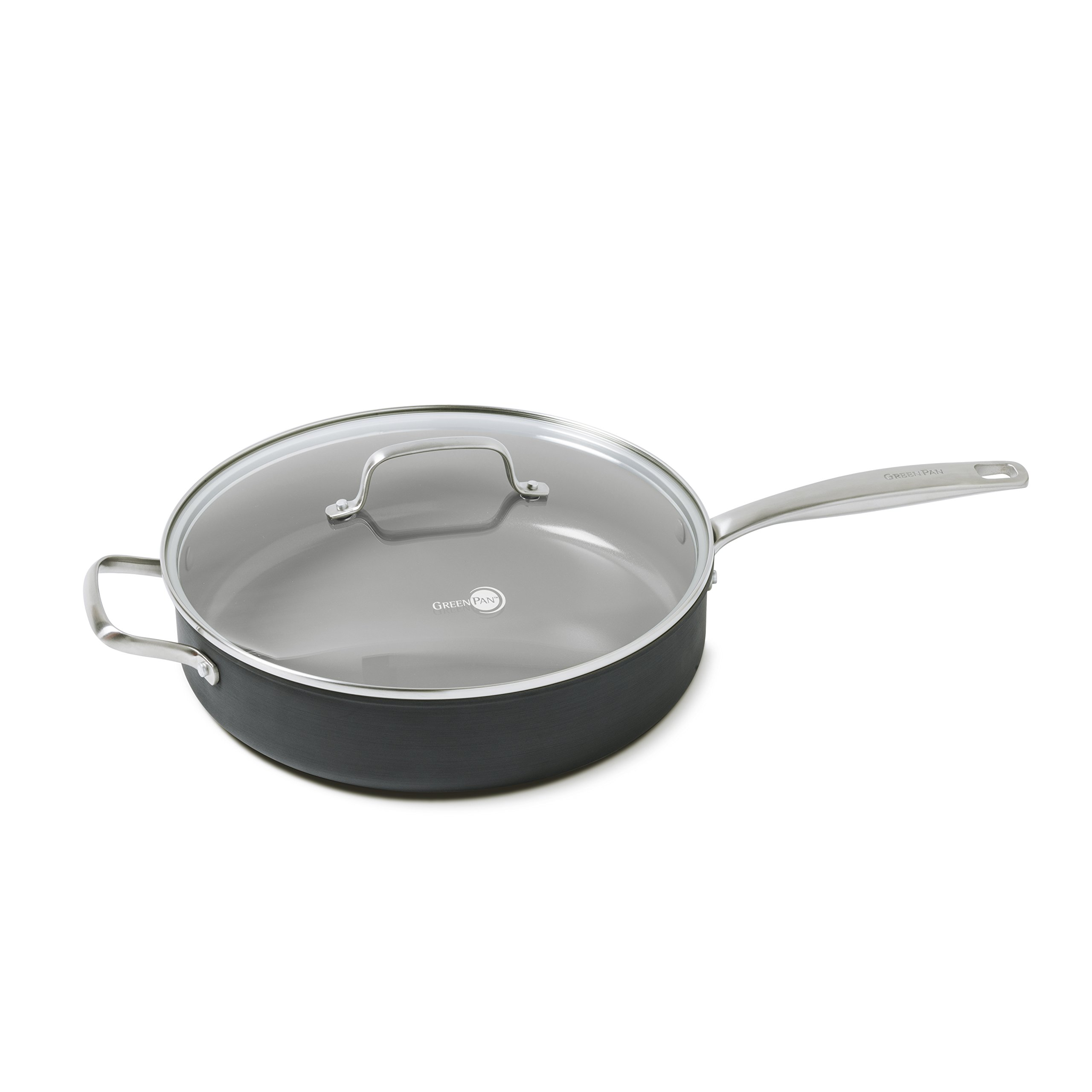 GreenPan CC000123-001 GreenPan Chatham 5QT Ceramic Non-Stick Covered Saute Pan with Handle Helper, Grey, 5 quart